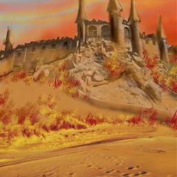 ftedesert sandcastle sunset