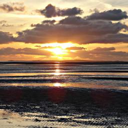 gold sunset beach summer clouds