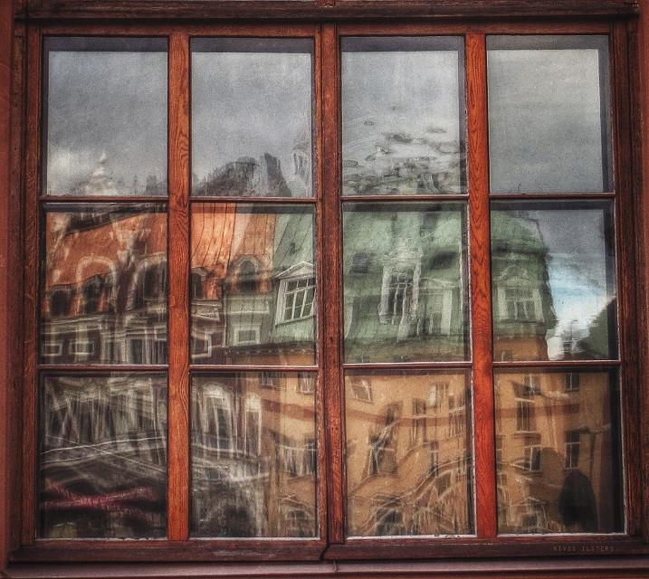Riga in Wonderland  #city #riga #window #reflection
