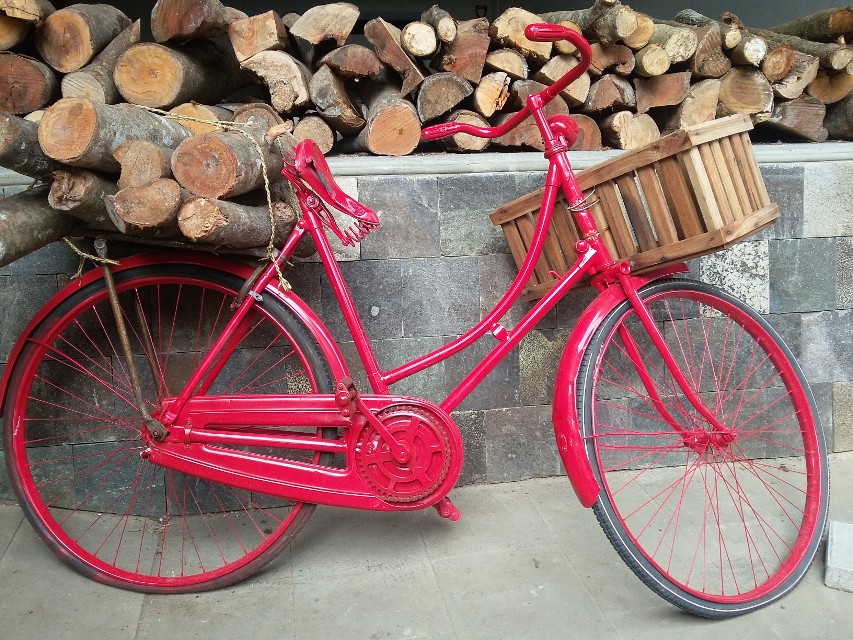 #bicycle #wood #redcolor #vintage #old #country #village #photography