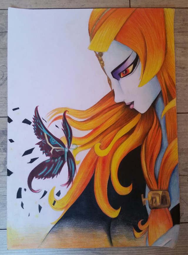 #colorful #petsandanimals #art #drawing #midna #butterfly  #zelda  I don't know what to do with the background.... took me about 500 years to finish it 😂