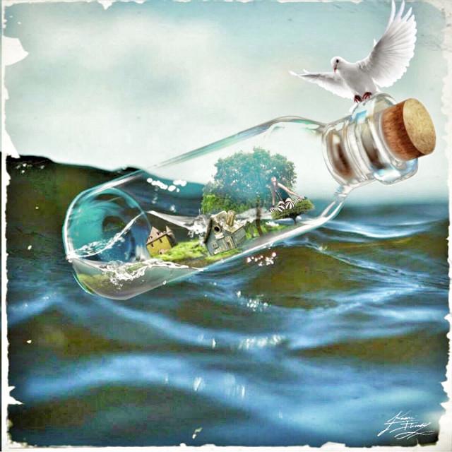 #move #trip  #travel #glassbottle #wapfloatonwater