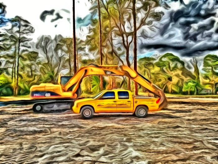Parked at the office. #cars #colorful #hdr #photography #popart #florida #sky #construction #landclearing #Cat315 #caterpillar #GMC