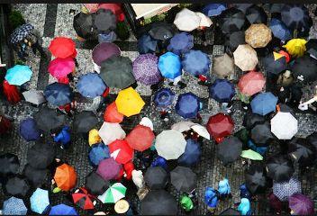 umbrella gathering people
