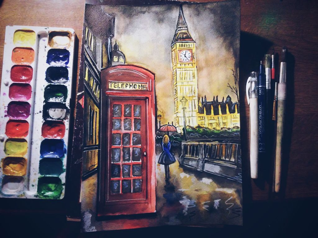 #art  #London  #night  I'm sick😢, but it does not prevent me to draw
