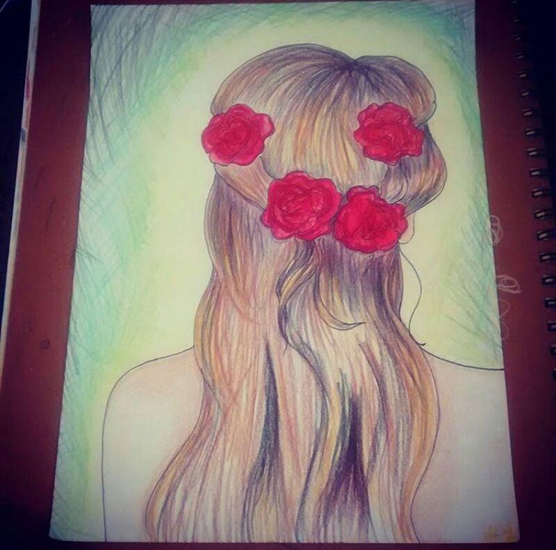Drawing I Did Awhile Back Tumblr Rose Hair Drawing Pris