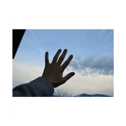 hands air sky clouds colorful