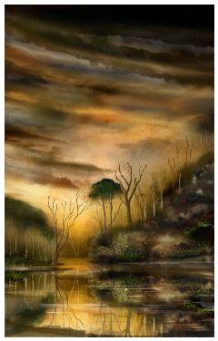 drawing art sunset